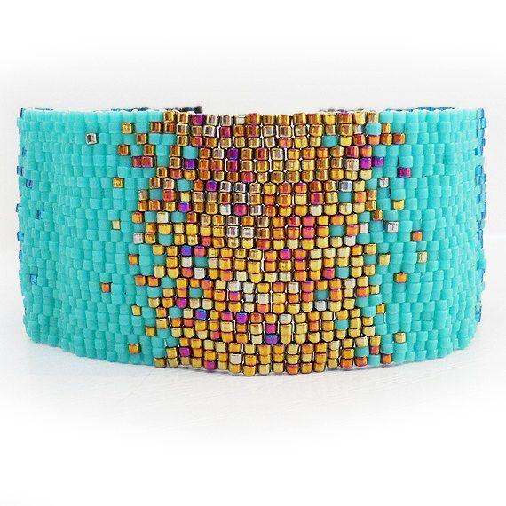Bronze and Blue Gradient Bracelet - Ombre Glass Beads Bracelet - Wide Beadwork Bracelet