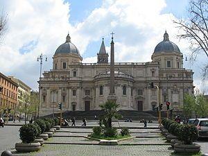 Piazza dell'Esquilino with the Basilica di Santa Maria Maggiore in the background,  Rome, Italy