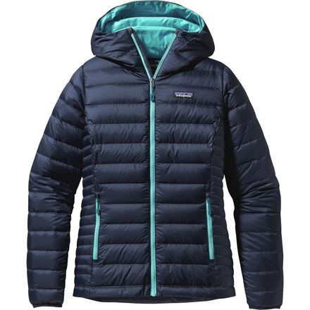 Patagonia Down Sweater Full-Zip Hooded Jacket - Women's Navy Blue, size XL