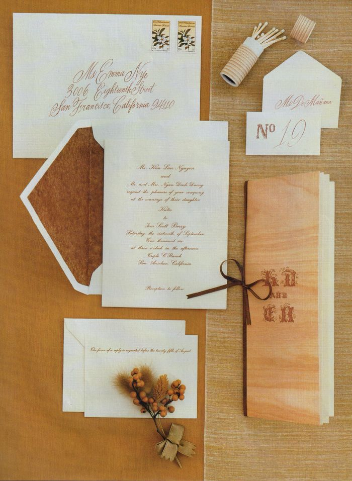 Elegant woodsy wedding invitations Beautiful calligraphy font