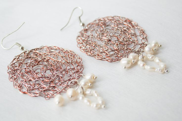 Dangle Wire crochet earrings  Silver plated  & Copper  Wire  Handmade featured Freshwater Pearls Natural Pearls by…