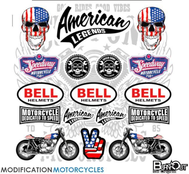 Planche De Stickers Vintage A4 American Bell Burn Out Accessoires Moto Vintage Accessoires Pour Moto American