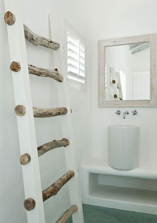 "I like this ""ladder"". Instead of white, stain, and hold blankets and such. I could make this."