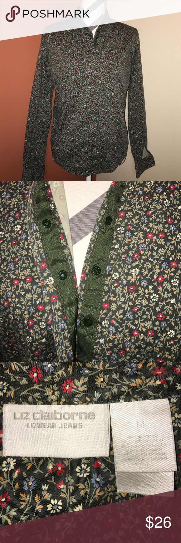 Liz Claiborne Blouse Super cute fun poppy print fitted top. Has snaps instead of buttons, fun.  Main color is a dark olive green. With yellow red and blue poppy flowers 🌺. In excellent condition no rips tears or stains. Liz Claiborne Tops Button Down Shirts