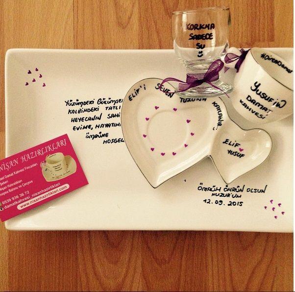 Tepsili Kalp Fincanlı Damat Kahvesi Fincanı - NişanHazirliklari.com //suya tuz atma keyfisi
