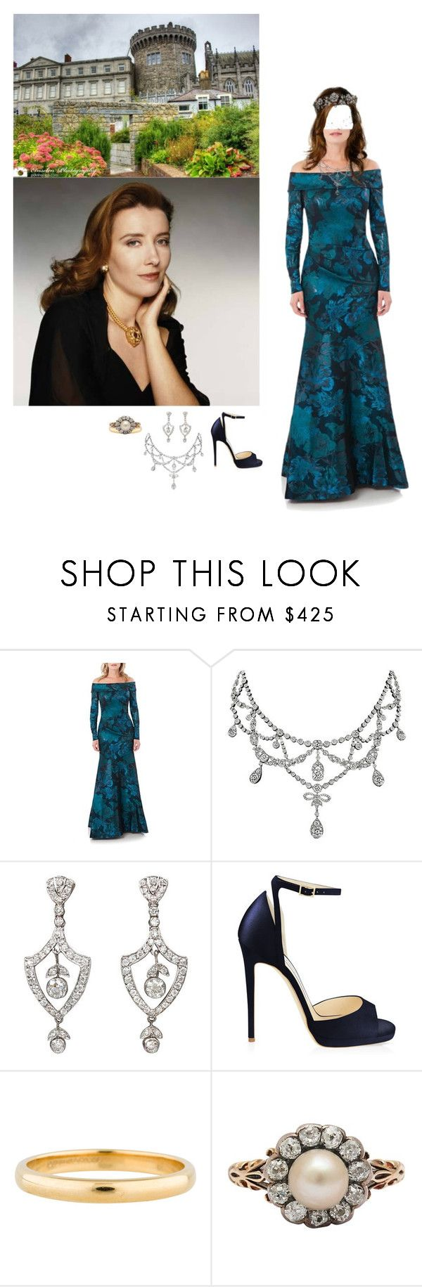 """""""An official portrait of Queen Mary released by Dublin Castle to celebrate her 57th birthday"""" by princessofleinster ❤ liked on Polyvore featuring Theia, Jimmy Choo and Tiffany & Co."""