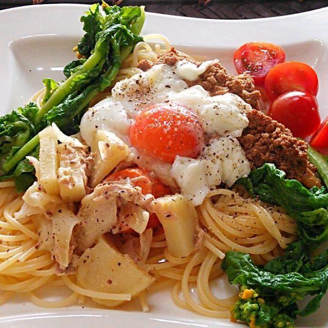 タラコの煮付け、シーチキンとポテトのサラダ、過去おかず二種活用のリメイクです(..) - 50件のもぐもぐ - 春のパスタランチ、菜の花添えて衣替え(^^ゞ by hkim