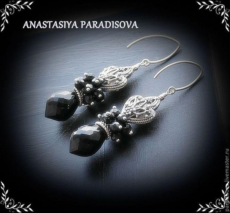 """""""ЛЕТУЧАЯ МЫШЬ"""" серебро, черная шпинель - серебряные серьги,вечерние серьги"""