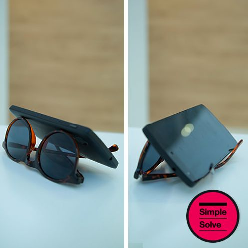 Sunglasses = genius phone stand. #mindblown