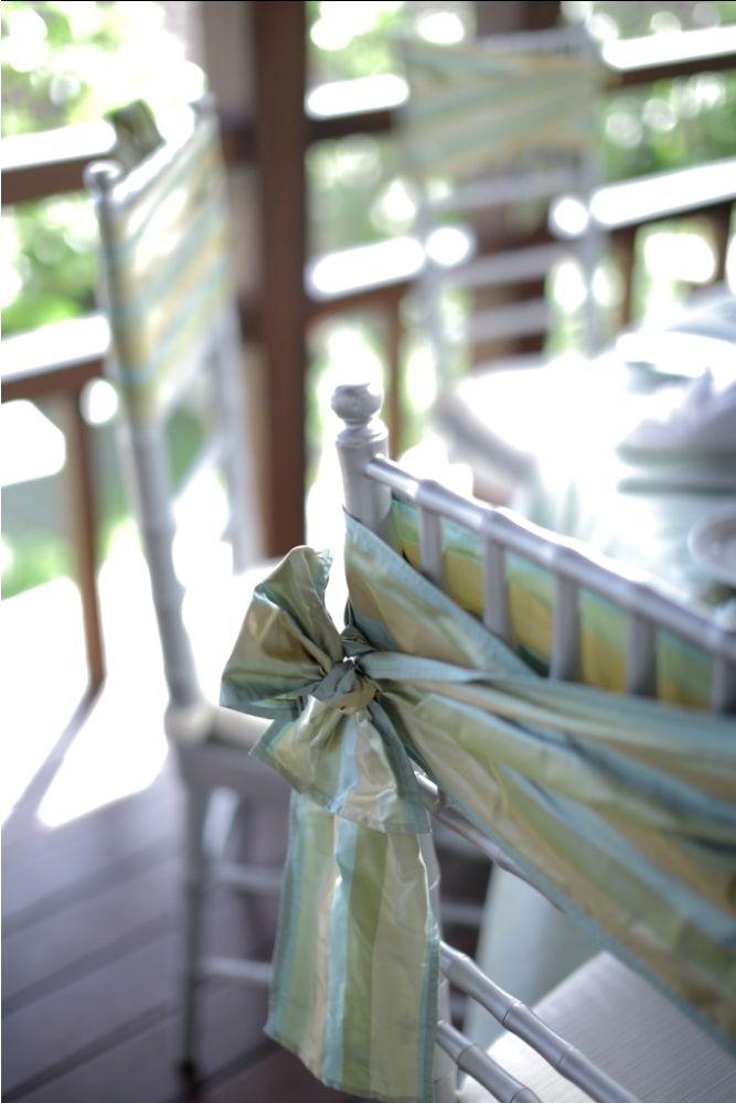 Stripe bow dressing up Silver Tiffany chair by Tirtha Bridal Uluwatu Bali