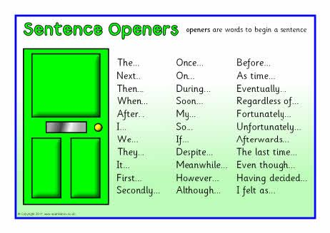 Sentence openers list from sparklebox.co.uk