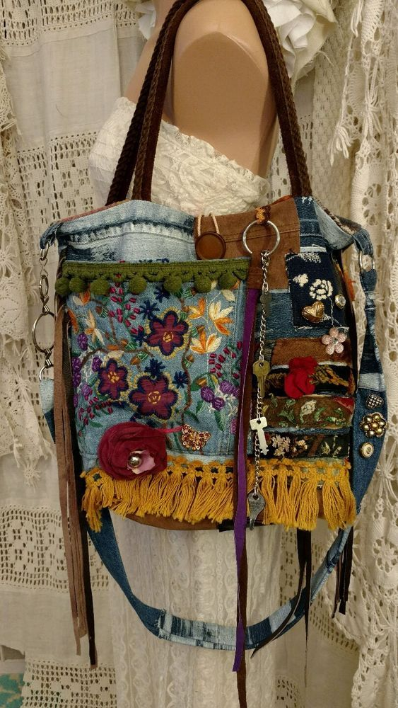 Handmade Denim Suede Cross Body Shoulder Bag Fringe Purse Hippie Boho tmyers #Handmade #CrossBodyandShoulderBag