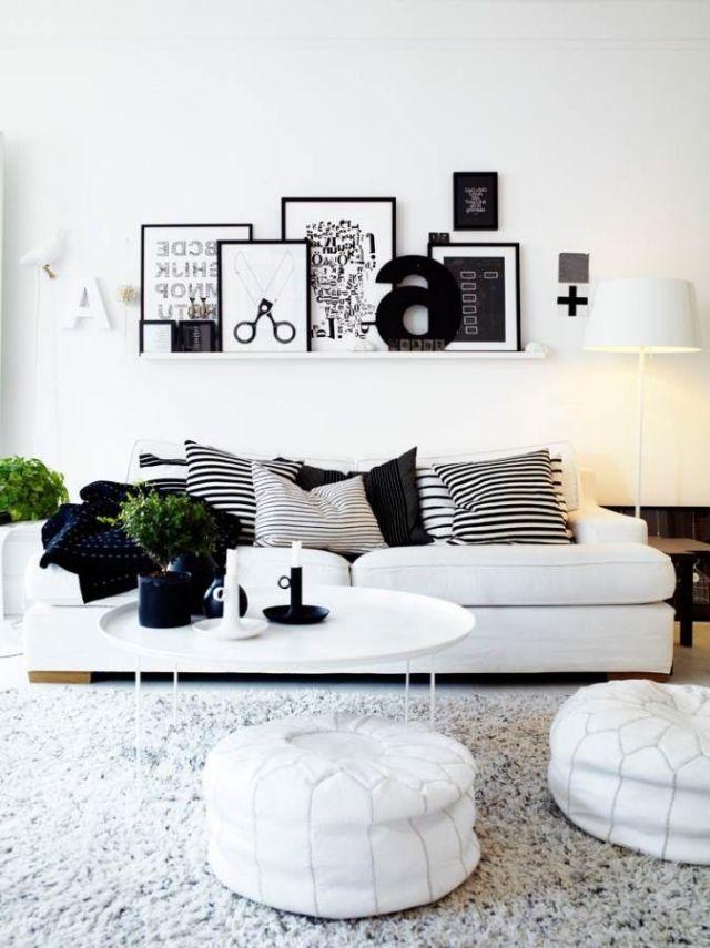Wohnzimmer einrichten: Ideen in Weiß, Schwarz und Grau ...