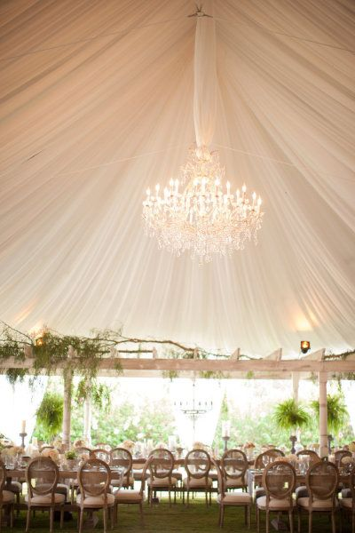 #chandeliers #tent Photography by birdsofafeatherphoto.com/ Planning + Design by amorologyweddings.com Floral Design by twiggbotanicals.com  Read more - http://www.stylemepretty.com/2013/07/15/rancho-santa-fe-wedding-from-birds-of-a-feather-amorology/