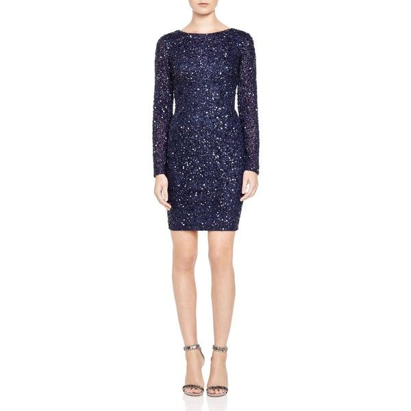 Adrianna Papell Petites Embellished Dress ($229) ❤ liked on Polyvore featuring dresses, navy, navy dress, navy blue dress, adrianna papell, embellished dresses and petite dresses