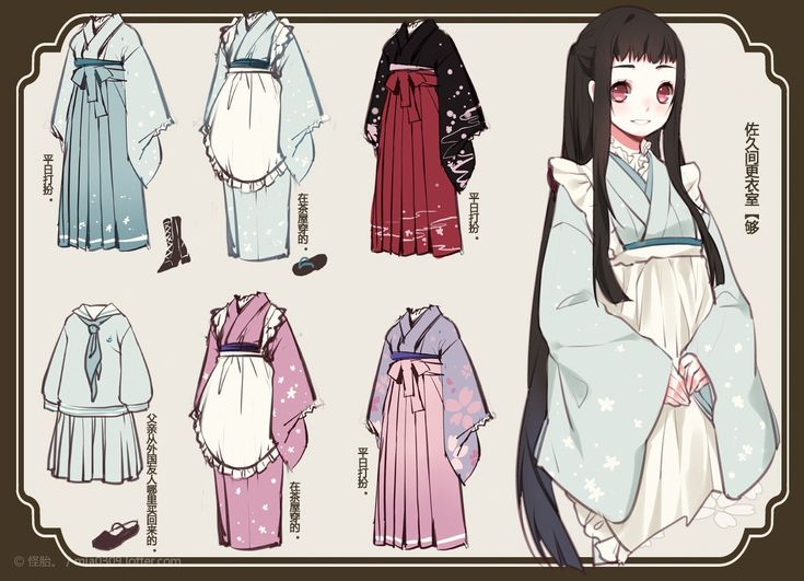 Japanese kimonos(find correct term) reference patterns. Focus: the colours of the outfits