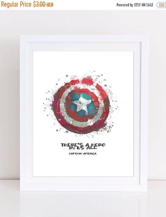 70%OFF Captain America Poster Shield Poster Shield Watercolor