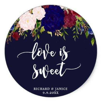 navy floral love is sweet favor sticker wedding - floral bridal shower gifts wedding bride party