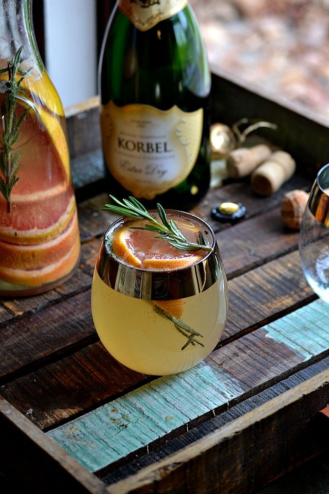 Sparkling sangria with Ruby Red grapefruit and rosemary