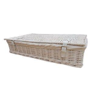 Ebay 65 White Wicker Large Rectangular Underbed Storage Basket Lined Lid Extra L