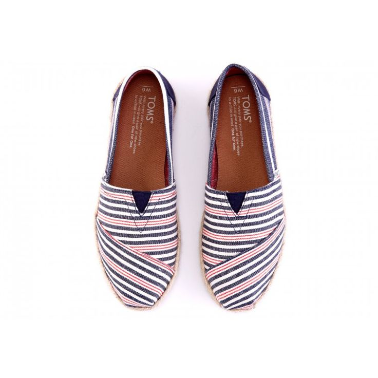 john-andy.com | Toms Παπούτσια Γυναικεία Navy Red Woven Rope Sole Classic