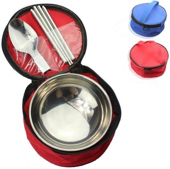 1SET Tableware Set Stainless Steel Bowl Spoon Chopsticks Set Outdoor Travel Camping Flatware Set KV 091