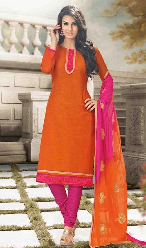 Be your distinct style diva with this deep orange color cotton churidar dress. The stunning lace work a significant element of this attire. #OrangeAndRaniSalwarSuit