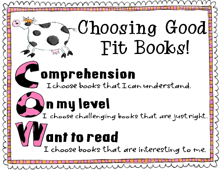cow it.: Reading Charts, Book Posters, Good Fit Books, Schools Stuff, Book Charts, Cow, Extra Degree, Classroom Ideas, Good Fit Book Anchors Charts