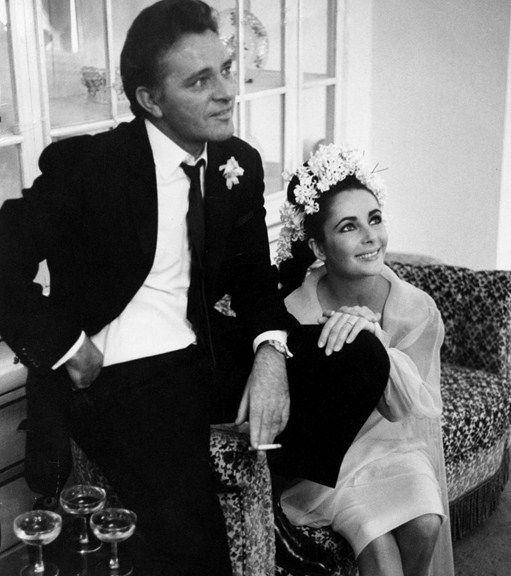 Elizabeth Taylor and Richard Burton on their first wedding day