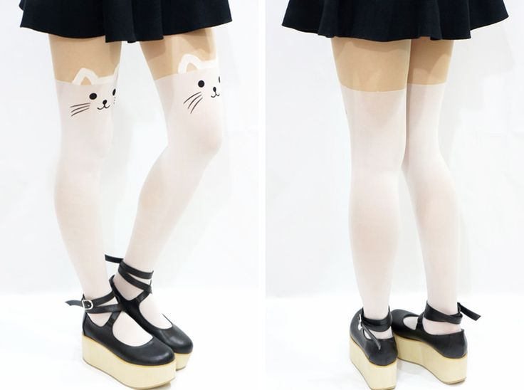 White Kitty Cat Thigh High Tights/ Pantyhose