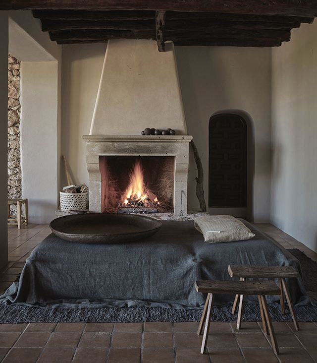Fireplace in the bedroom at Le Granja Ibiza. 4880 best For the Home images on Pinterest   Architecture  Cottage
