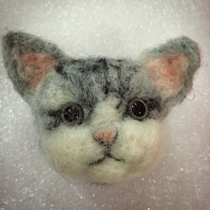 Needle Felted Cat's Head is done!