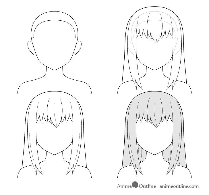 Hairstyle Reference Drawing Female In 2020 Manga Hair Girl Hair Drawing Anime Drawings