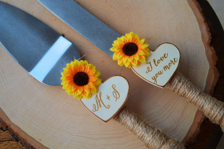 Sunflower Wedding Cake Knife Set, Fall Wedding Cake Serving Set, Personalized Cake Cutter And Server, Rustic Wedding Shower Gift S1 by RedHeartCreations on Etsy https://www.etsy.com/listing/472354450/sunflower-wedding-cake-knife-set-fall