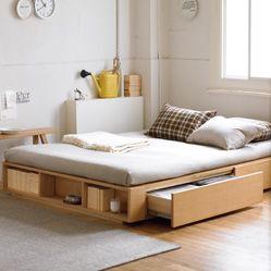 MUJI Net Store | 27cm Width 148.5 × height 201 × depth walnut double bed material storage