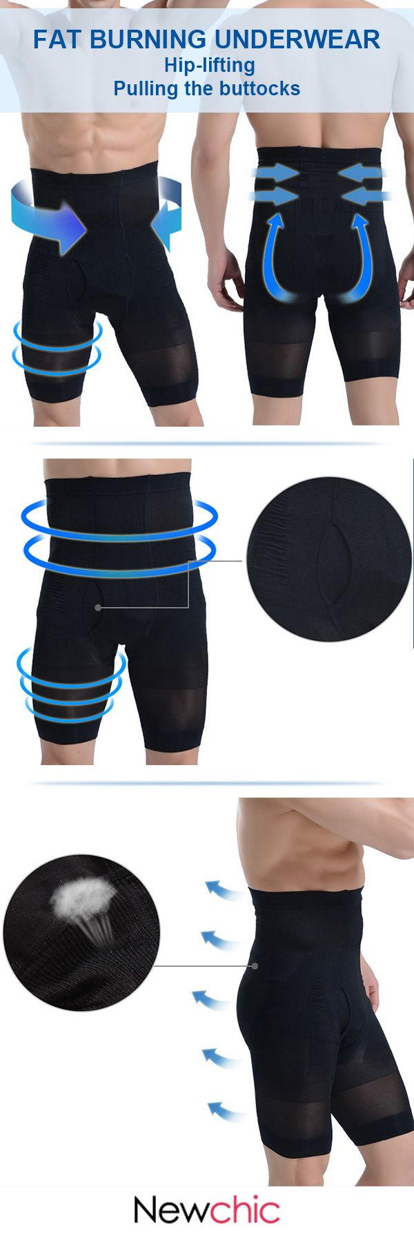 High Elastic Fat Burning Underwear Tight Tummy Tuck Hip Lifting Boxers for Men