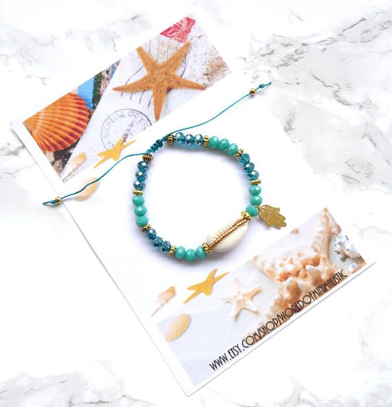 Hamsa hand sea shell bracelet, layering beaded bracelet, bohemian beach bracelet, mermaid bracelet, friendship bracelet, Sister gift >> Bohemian Sea Shell Bracelet , made from high quality Faceted glass beads, Miyuki delica , natural cowrie sea shell, and as detail a tiny hamsa