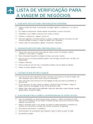 Lista de verificação de viagem de negócios