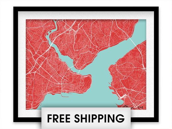 Istanbul Map Print  Choose your color by iLikeMaps on Etsy, $20.00