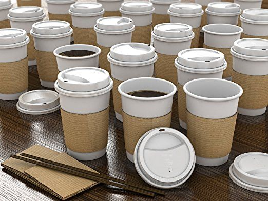 JUMBO Set of 110 - Paper Coffee Hot Cups, Travel Lids, Sleeves & Stirrers -12oz / 360ml - WHITE - Office/Party Pack - to go Coffee Cups, Disposable Travel Mug & Cover Hot/Cold Coffee, Tea & Chocolate
