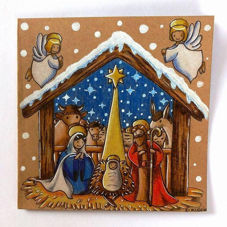 """Carte de vœux pour noël - carte sur le thème de la """"nativité"""" dessiné et coloré à la main- carte """" la naissance de Jésus Christ : Cartes par sabrina-riggio"""