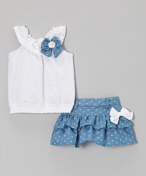 Another great find on #zulily! White Bow Yoke Top & Blue Tiered Skirt - Toddler & Girls by Nannette Girl #zulilyfinds