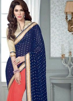 VandV Dark Blue And Peach Georgette latest designer Saree