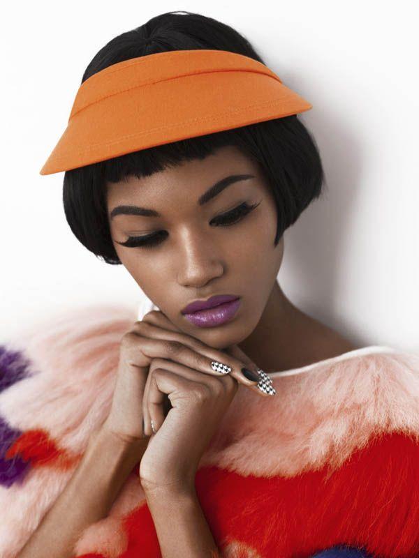 Photographer: Marie H. Rainville, Judy Inc Model: Miyanda - Dulcedo Models Location: The Judy Studio  #purple #summernails #nailart #summer #visor #shorthairdontcare #fashion #model #style #cool #trendy