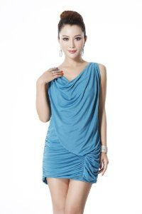 Sleeveless V Neck Slim Dress With Pleated Gathers/AQUA/M