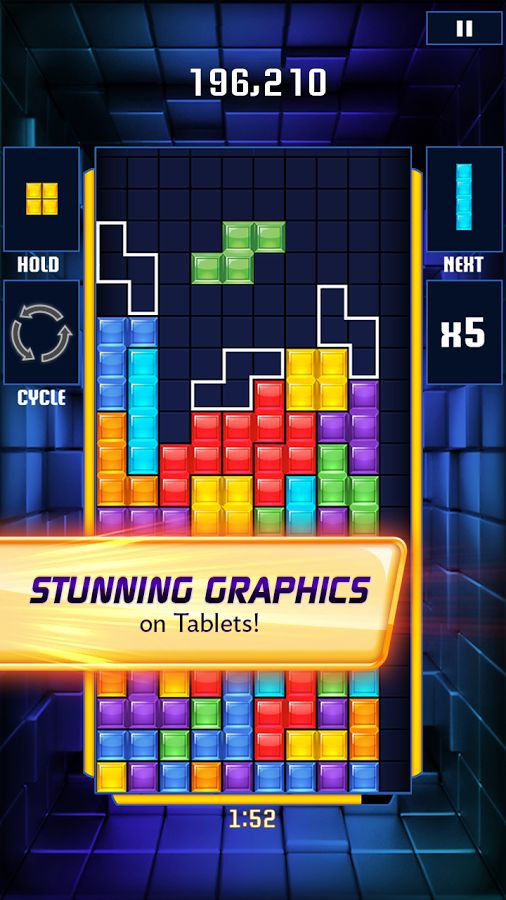 Tetris is the classic block falling game, that lets you rotate and move the blocks, to connect the shapes into a compact mess until the colours are matched.