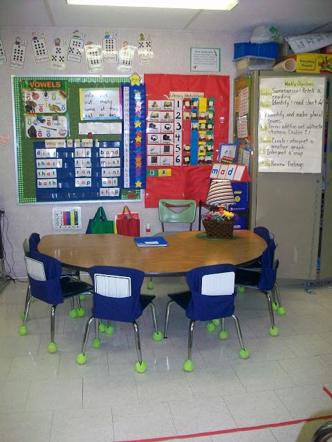 First Grade School Box: Small Group AreaI like the chair pockets for storage and the pocket chart and lamp idea!