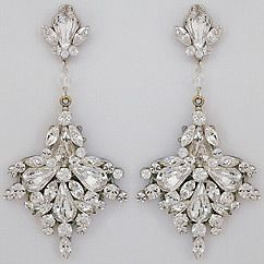 Erin Cole Bridal Chandelier Earrings | Large Fan Drop Crystal Chandelier Earrings