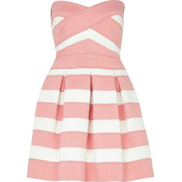 River Island Pink and white bandage box pleat prom dress found on Polyvore