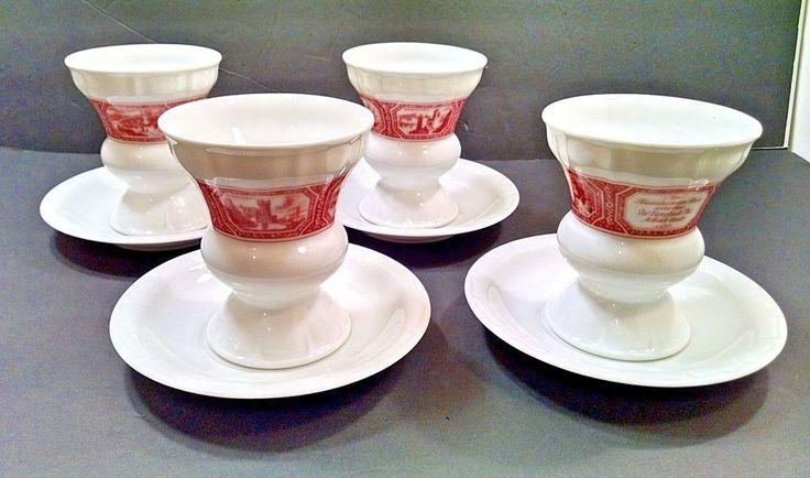 Set 4 Heinrich Germany Rüdesheimer Kaffee Porcelain Cup&Saucer Set Irish Coffee #Heinrich